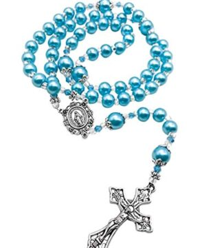 Light Blue Pearl Beads Rosary