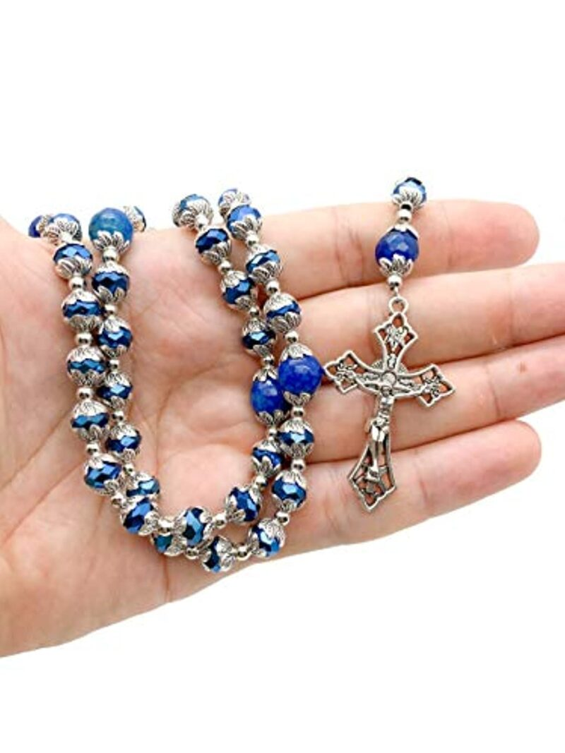 Deep Blue Crystal Beads Rosary Blue Agate Glory Stone Necklace
