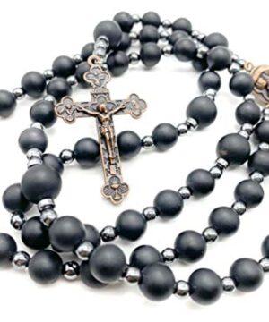 Black Agate Beads Rosary Hematite Stones