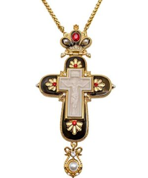 Jesus Pectoral Cross Black Enamel