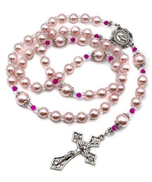Pink Pearl Beads Rosary Catholic Necklace