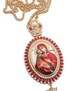 Pectoral Cross Red Zircon Gold Plated Pendant