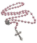Catholic Rosary Necklace Pink Pearl