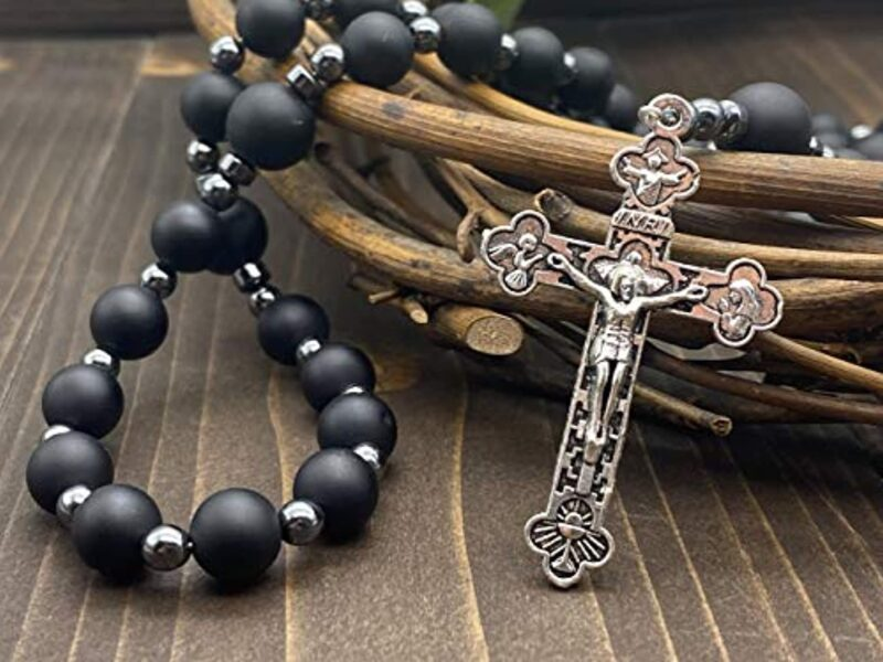 Black Matte Agate Beads Rosary Hematite Necklace Jerusalem
