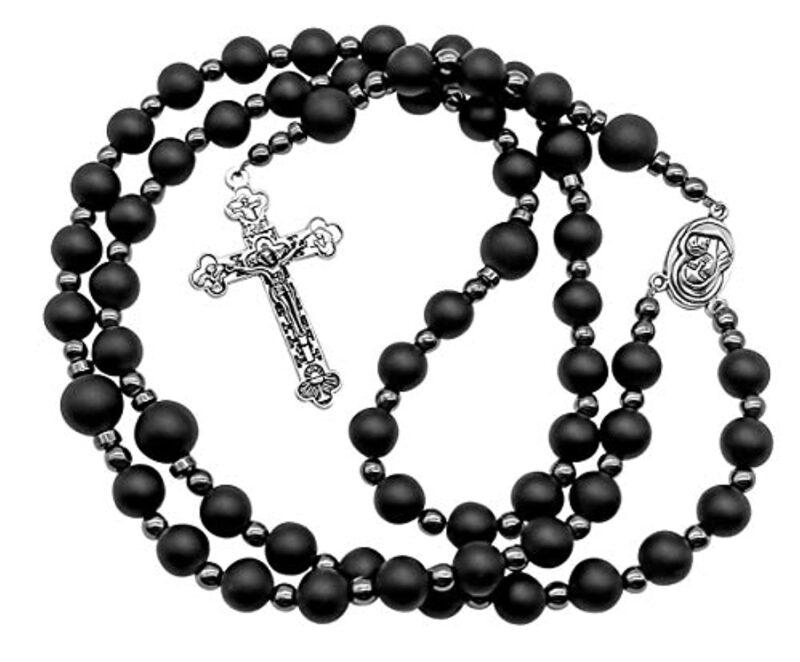 Black Matte Agate Beads Rosary Hematite Necklace Jerusalem Holy Soil & Cross