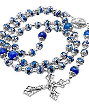 Deep Blue Crystal Beads Rosary Blue