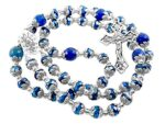 Deep Blue Crystal Beads Rosary Blue Agate Glory Stone Necklace Miraculous Medal & Cross