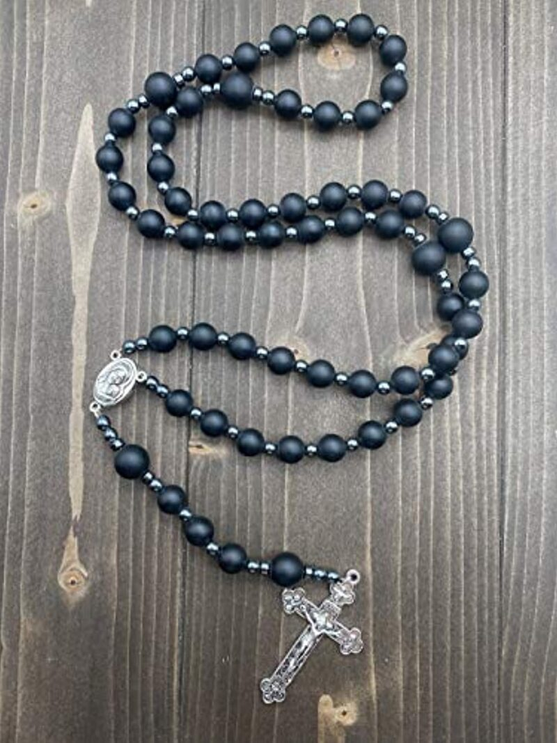 Black Matte Agate Beads Rosary Hematite Necklace