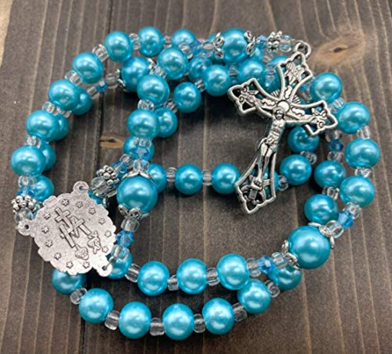 Light Blue Pearl Beads Rosary Catholic Necklace Miraculous Medal Cross Crucifix