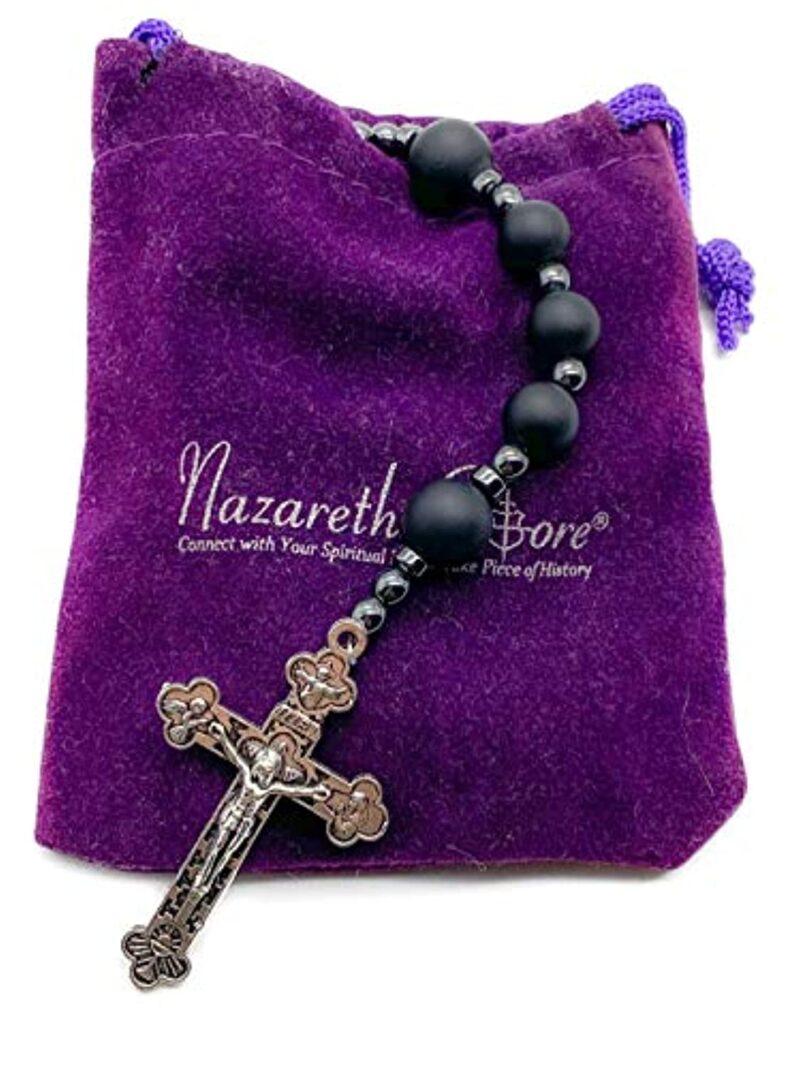 Matte black agate beads long beaded Catholic necklace