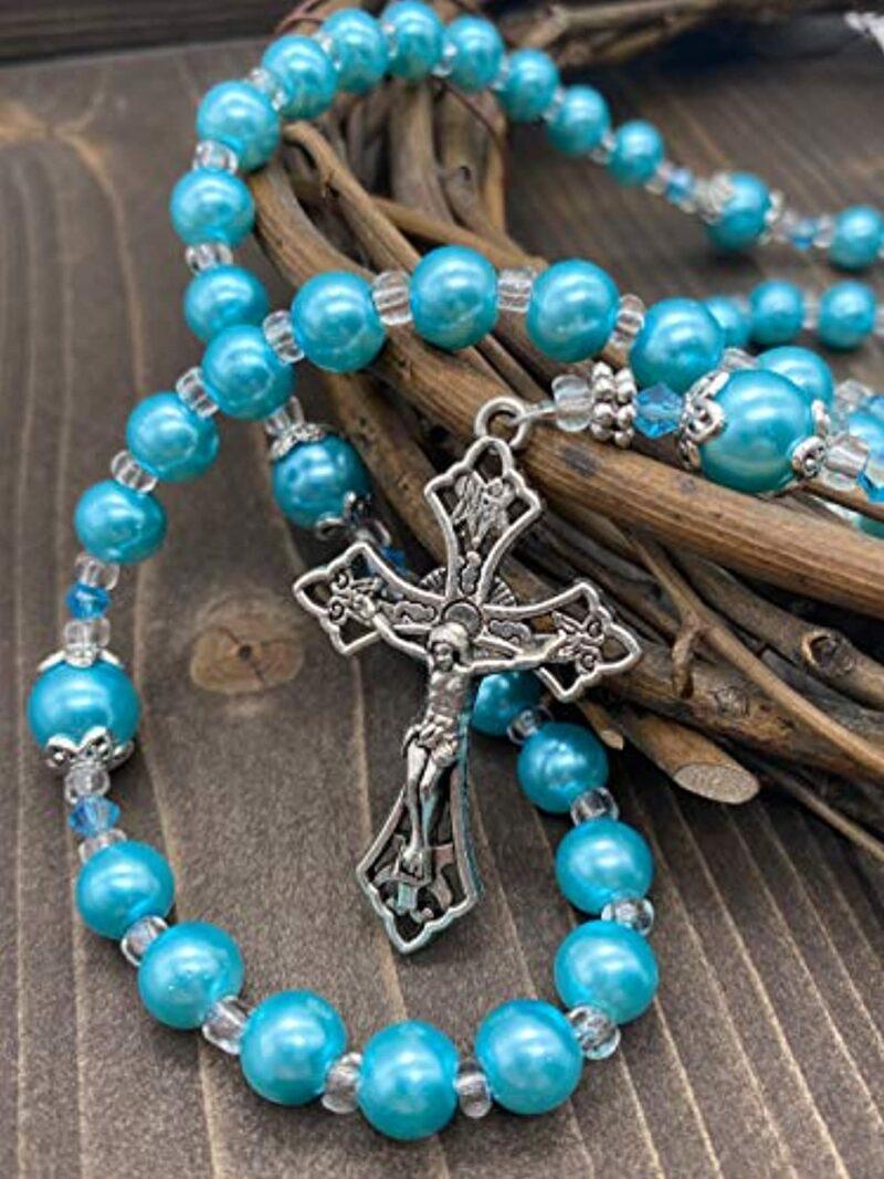 Light Blue Pearl Beads Rosary Catholic Necklace