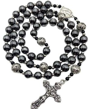 Hematite Rosary Black Stone Beads Necklace