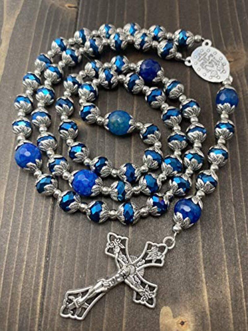 Deep Blue Crystal Beads Rosary Blue Agate Glory Stone Necklac