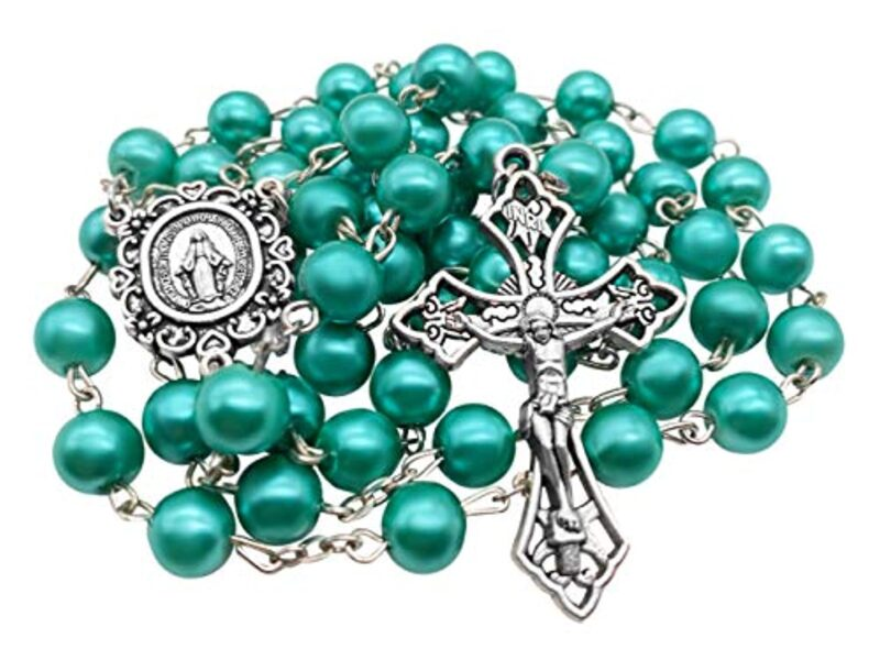 Catholic Aquamarine turquoise Pearl Beads Rosary