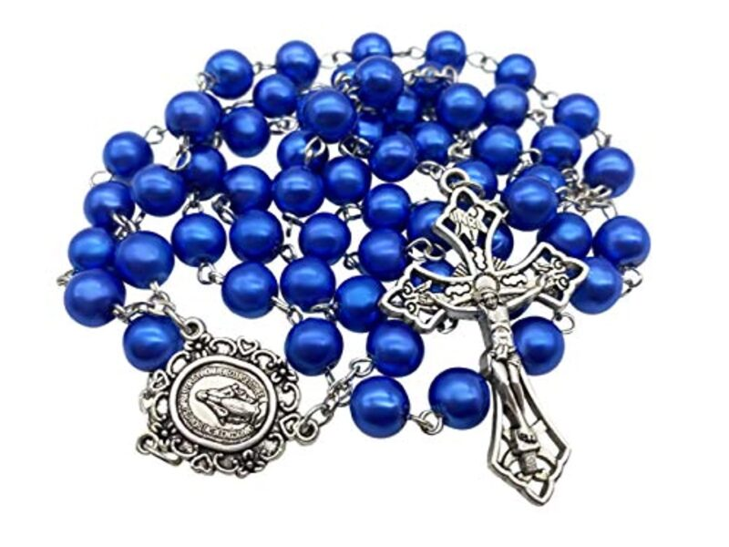 Catholic Rosary Necklace Blue Pearl