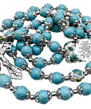 Catholic Turquoise Marble Beads Rosary