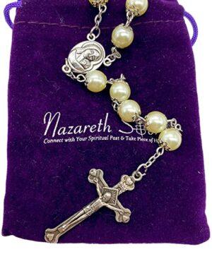 Cream pearl rosary 1