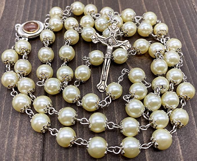 Cream pearl rosary 3