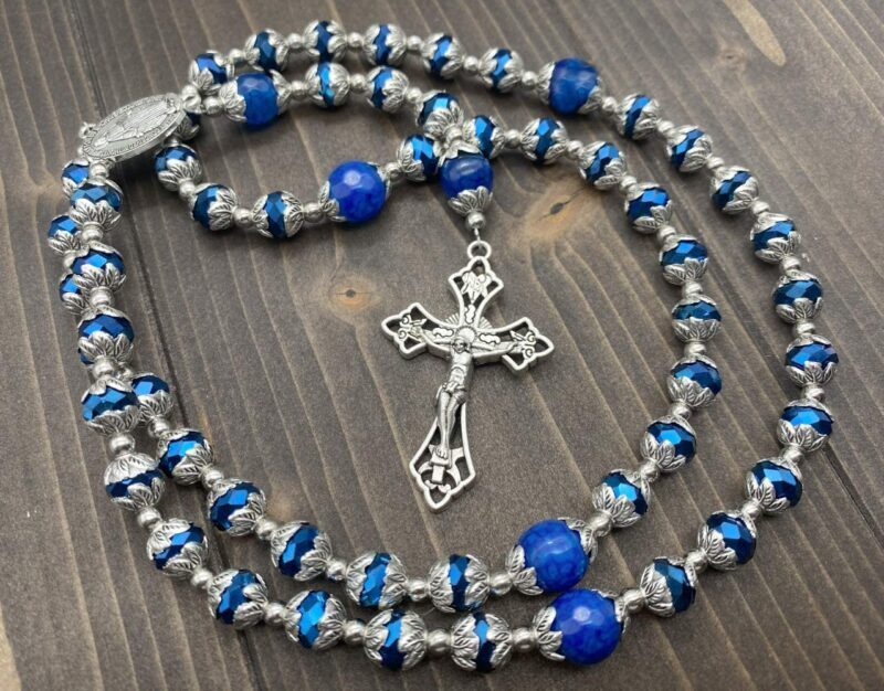 Blue crystallized glass beads long beaded catholic necklace classic communion rosary with 10.00mm Glory agate beads.