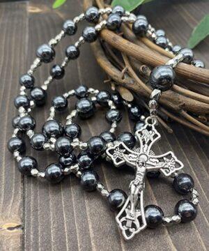 Hematite Black Stone Beads Rosary