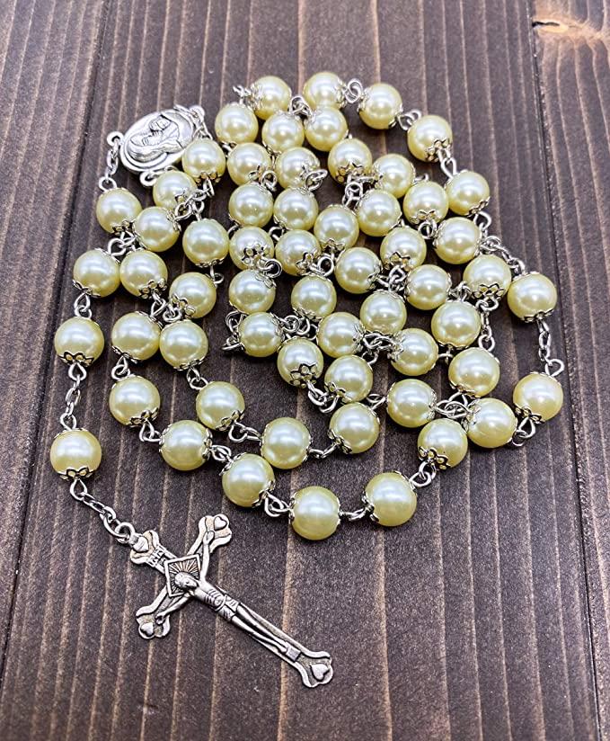 Cream pearl rosary 2