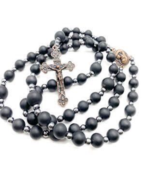 Black Agate Matte Beads Hematite Rosary Prayer Jerusalem Holy Soil Medal