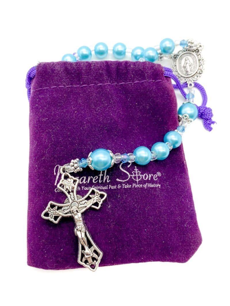 Turquoise pearl imitation glass beads long beaded Catholic necklace classic communion rosary.