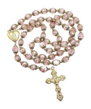 Catholic Pink Crystal Beads Rosary