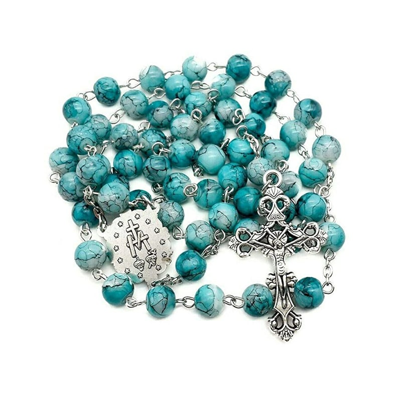 Turquoise Marble Glass Beads Rosary