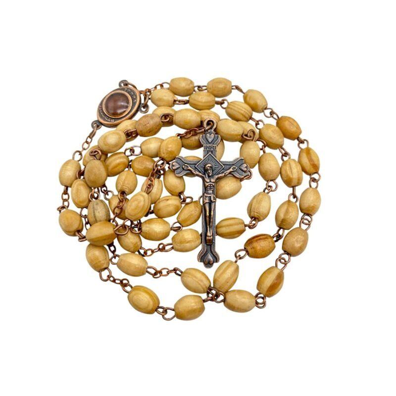 Vintage Olive Wood Beads Rosary Catholic Prayer Necklace