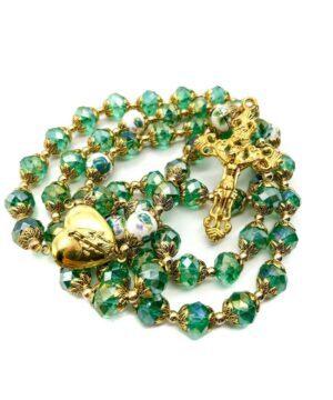 Catholic Green Crystals Beads Rosary