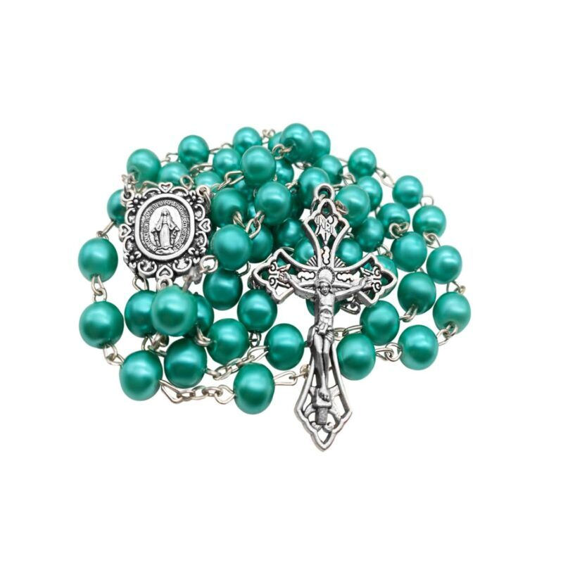 Turquoise Pearl Beads Rosary Necklace Miraculous Medal