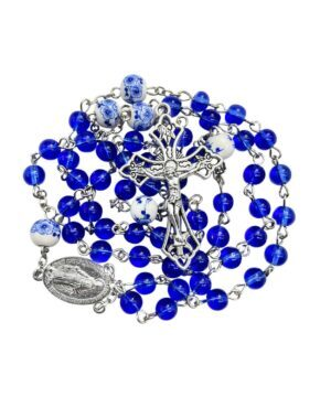 Blue Glass Beads Rosary White Flowers