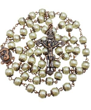 Cream Pearl Rosary Beads Necklace