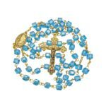 Turquoise Crystal Cubic Beads Rosary