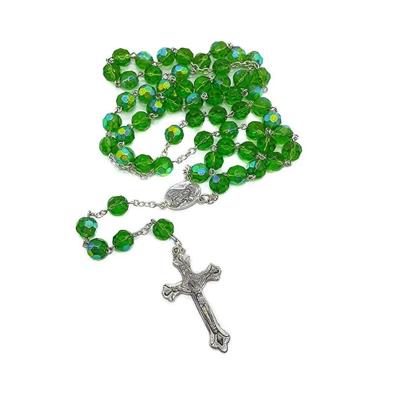 Green Glass Beads Rosary Necklace