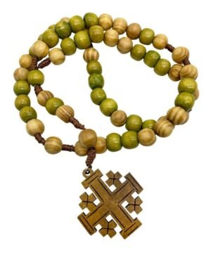 Prayer Olive Wood Chaplet Cord Rosary Jerusaelm Cross