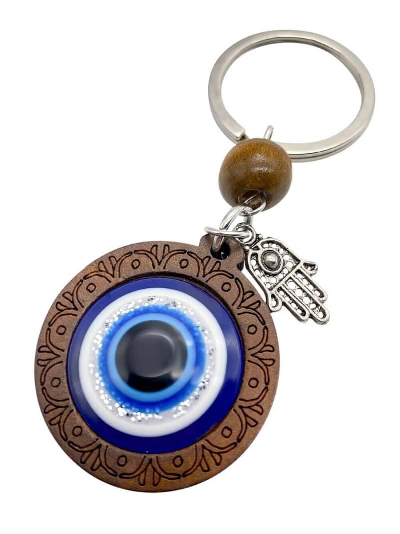 Evil Eye Keychain Wooden Amulet
