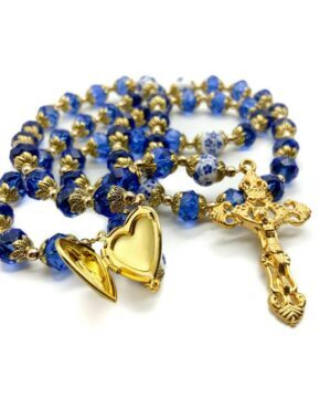 Gold Blue Crystal Beads Rosary
