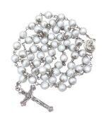 Catholic Rosary Necklace White Pearl Beads