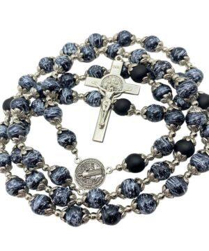 St Benedict Rosary Black Beads
