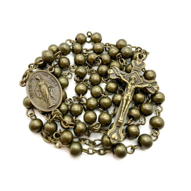Antique bronze rosary necklace