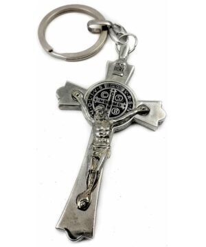 St. Benedict Metal Cross Keychain Catholic Key Ring