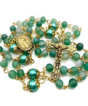 Green Matte Beads Rosary Necklace