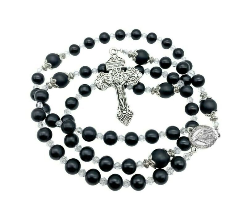 Agate Stone Beads Rosary black Necklace