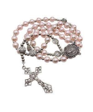 Pink Rosary Pearl Beads Catholic Rosario