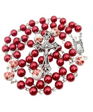 Red Pearl Beads Rosary White Flowers