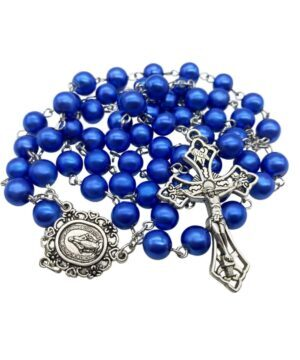 Blue Pearl Beads Rosary Necklace Catholic Miraculous Medal