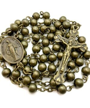 Combat Rosary Necklace Metal Beads