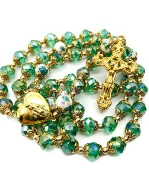 Catholic Green Crystals Beads Rosary Necklace Miraculous Heart Locket Medal